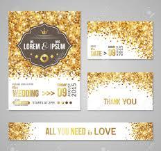 Golden Invitation Card Design Set Of Wedding Invitation Cards Design Gold Confetti And White