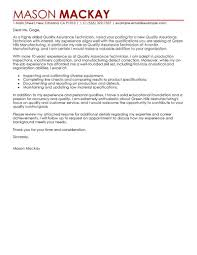 cover letter quality assurance