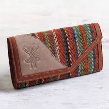 women s brown leather tri fold wallet with wool inset r s soul