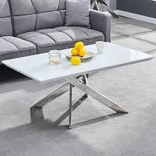 white gloss coffee table with chrome