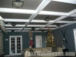 faux coffered ceiling these faux beams blow away real wood beams or constructing a ceiling out