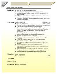 Mortgage Loan Processor Resume Professional Loan Sample Plus Write  Highlights Free 11 Mortgage Loan Processor Resume ...