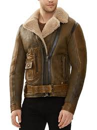 men shearling flying sheepskin leather jacket