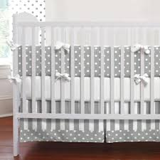 gray and white dots and stripes crib bedding neutral baby bedding