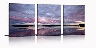framed nature modern wall art prints canvas picture home decor calm water sunset