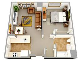 3D one bedroom small house floor plans for single man or woman are ...