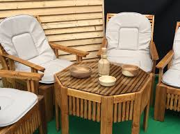 garden furniture set 4 chairs with cushions and round table with glass solid wood hand crafted