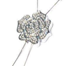 dazzling rose flower cz tassels white gold plated pendant statement necklace