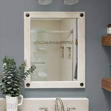 Farmhouse Bathroom Vanity Mirror With Clavos 24x31 Whitewash Drakestone Designs