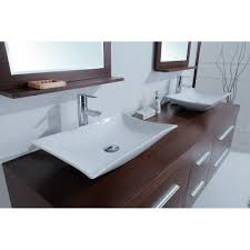 calliope  inch modern double vessel sink vanity iron wood finish