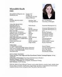 Famous Musical Theatre Resume Special Skills Images Entry Level