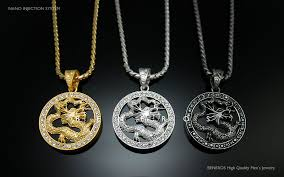 dragon circle onyx pendant chain necklace gold silver black plated mens dragon necklace