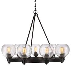 galveston 9 light chandelier rubbed bronze with seeded glass
