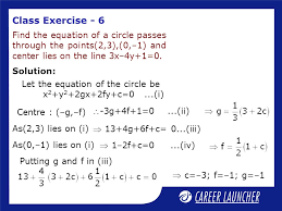 class exercise 6 find the equation of a circle p through the points 2