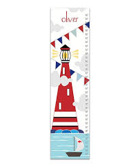 Nautical Growth Chart Finny And Zook Nautical Lighthouse Personalized Canvas Growth Chart