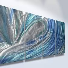 metal wall art abstract decor sculpture painting modern water wave blue canvas metal dff eb