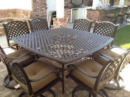 nassau cast aluminum powder coated 8 person patio dining set with lazy susan antique