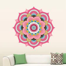 buddhism colorful india mandala wall stickers for living room namaste india removable creative wallpaper mural home decoration