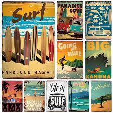 retro vintage surf wall art display