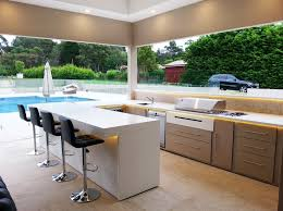 home design recessed kitchen lighting outdoor. Luxrious Modern Outdoor Kitchen Design With White Bar And Black High Chairs Using Recessed Lighting Home
