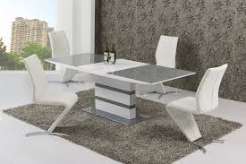 small extending 4 seater gloss grey glass dining table chairs