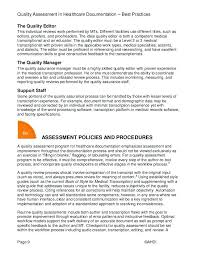 Quality Assurance Plan Example Quality Assessment In Healthcare Assurance Plan Template For Health