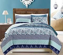3-Piece Fine printed Quilt Set Reversible Bedspread Coverlet KING ... & 3-Piece Fine printed Quilt Set Reversible Bedspread Coverlet KING SIZE Bed  Cover (Navy Adamdwight.com