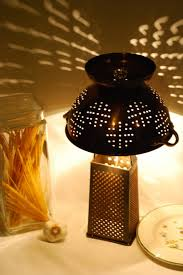 Rustic Recycled Cheese Grater and Colander Table Lamp - table-lamps