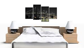 amazon large new york city canvas wall art pictures of nyc skyline in black white set 4 big cityscape of brooklyn bridge at night split multi panel  on canvas wall art bedroom with amazon large new york city canvas wall art pictures of nyc