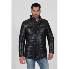 men s black padded and quilted genuine fur lining real leather jacket