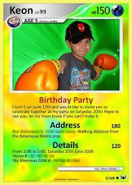My Sons Birthday Card Pokemon Pokemon Party Invitations Pokemon