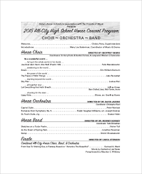 sample concert program sample concert program 7 documents in word pdf
