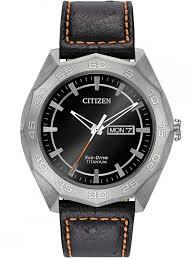 citizenmens brycen super titanium leather strap watch aw0060 03e