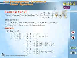 example 12 12t 12 5 geneous systems of linear equations solution