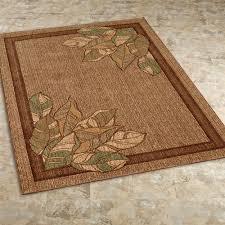 urban leaves rectangle rug brown