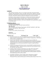 net developer resume