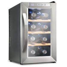 8 bottle premium thermoelectric freestanding wine cooler fridge stainless steel with wood shelves