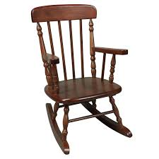 wooden rocking chair. Dark Brown Wooden Rocking Chair With Back And Double Arms G