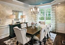 alluring dining room with tile window facing table and upholstered dining chairs on carpet