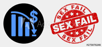 Rounded Crisis Bar Chart Icon And Sex Fail Seal Stamp Red