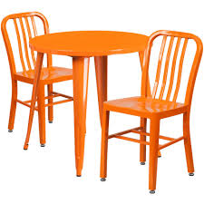 outdoor metal table set. IHome Nicollet Round Orange Metal Table Set Vertical Slat Back Chairs For Restaurant/Bar/Pub/Patio, Size Sets, Patio Furniture (Iron) Outdoor