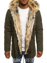 ericdress plain faux fur zipper thicken small size men s winter coat