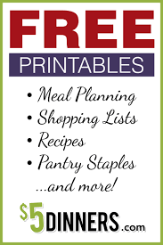 printable grocery planners printables from 5 dinners