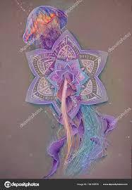 рисунок медузы плавающей через мандалы уникальной графикой цвета