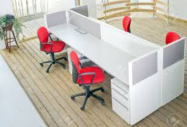 office desk cubicle. Office Desks ,and Red Chairs Cubicle Set View From Top Over Wood Flooring Stock Photo Desk