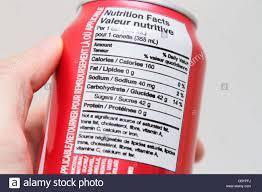 Coca Cola Nutrition Chart Nutrition Label Coca Cola Coke Can Stock Photo 41792342 Alamy