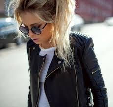 black jacket biker jacket leather jacket black leather jacket zip round sunglasses black sunglasses leather jacket