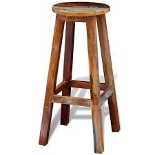 Vintage <b>Antique Style</b> Bar <b>Stool</b> Rustic Seat Retro Breakfast <b>Chair</b> ...
