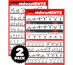 Profit Crossfit Exercise Workout Poster Set Guide With 45 Main Wod Movements For Full Body Training Bodyweight Barbell Dumbbell Kettlebell