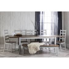 canterbury dining table with 5 chairs bench in silk grey and dark pine with